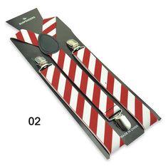 Adult Clip-on Braces Elastic Y-back Suspender w//Black Mustache Beard Patterns