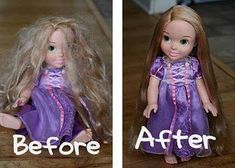 """A small spray bottle with 2 TBSP of fabric softener,  the rest water = """"Doll Hairspray."""" Perfect for synthetic wigs too!"""