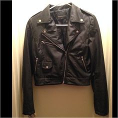 POETRY CLOTHING faux leather jacket Very good condition. Very nice cut and nice material. Give a chic look when you wear with a dress or legging and T-shirt. Fit S/M. No Trade No Paypal POETREY CLOTHING Jackets & Coats