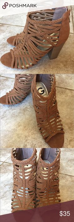 NIB G by Guess Jelus Sandals G by Guess Jelus Sandals in Medium Brown. These gladiator style Sandals feature thin straps, some of which are braided which give the Sandals a nice design. Zipper backs featuring gold Gs G by Guess Shoes Sandals