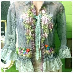 Bohemian Chic Lace Jacket Ribbon Work Hand Dyed Lace Ewardian Inspired Old Worlde Style by TheBohemianEffect on Etsy