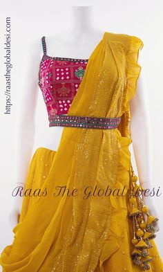LEHENGA ONLINE USA Give yourself a versatile look by wearing this georgette lehenga choli featuring lucknowi work lehenga and hand work blouse Indian Fashion Dresses, Indian Bridal Outfits, Indian Gowns Dresses, Dress Indian Style, Indian Designer Outfits, Half Saree Designs, Saree Blouse Neck Designs, Choli Designs, Bridal Blouse Designs