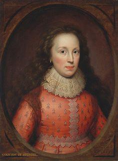 Cornelis Janssens van Ceulen ó Cornellius Jonson (1593-1661) Flamenco. 'Alethea Talbot, esposa de Thomas Howard, 21ro conde de Arundel'. Las primeras obras de Janssens fueron realizadas en tablas con marcos ficticios ovalados, que aparentan ser de madera o mármol. Este efecto de enmarcado fue uno de sus favoritos, de la primera parte de su carrera.