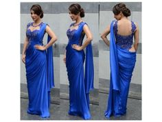 Get the Blue Silk Bollywood Style Saree @ 54 % off Delhi - Clasifyed