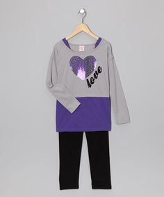 Take a look at this Purple 'Love' Tunic & Leggings - Girls by Fashion Points: Tween Trends on #zulily today!  #zulily and #fall .