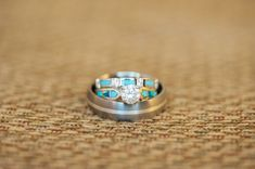 beautiful diamond ring with real turquoise accents