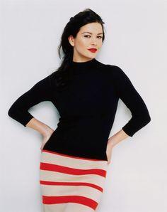 Love the mock turtleneck with striped skirt. Catherine Zeta Jones