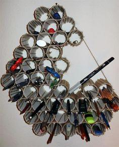 DIY pencil holder using toilet paper tubes