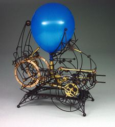 """Shingo Furukawa, """"Untitled (Balloon and Feather)…""""; Shingo will teach a workshop on using bicycle parts to create moving sculptures at Penland, June 8-20, 2014. More info: http://penland.org/iron/index.html"""