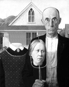 """American Gothic - New Version American Gothic Painting, American Gothic House, American Gothic Parody, American Art, Grant Wood, Gothic Halloween, Halloween Art, Iowa, Pot Pourri"