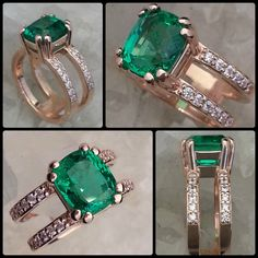14k Rose Gold, Emerald, Diamonds