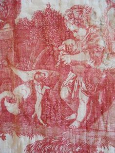 Antique french  fabric toile 18th-century Toile de Jouy linen red quilted  cherubini dog duck geese