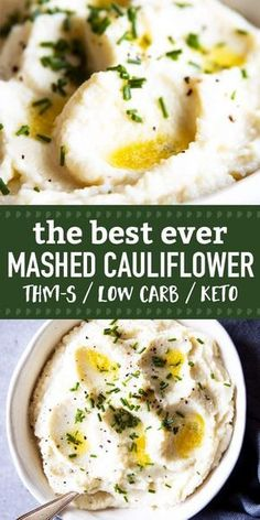 The Best Mashed Cauliflower, EVER! This recipe is so delicious, ULTRA creamy and just about perfect. Includes step-by-step recipe video. The ultimate low carb side dish for THM S-Meals, for keto diets or just when you need creamy comfort food but are out of potatoes 😉 | #trimhealthymama #thm #thms #keto #lowcarb #healthyfood #healthyrecipes #healthyliving #christmas #thanksgiving #cauliflower #sidedish