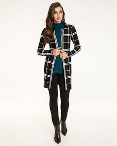 Windowpane Print Wool Blend Cardigan - This open front wool blend cardigan is…