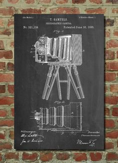 Photographic Camera 1885 Patent Poster patent art by PatentPrints in challkboard or parchment (ORDER 9X12 AND PUT IN 11X14 FRAME WITH WHITE OR BEIGE MAT BORDER)