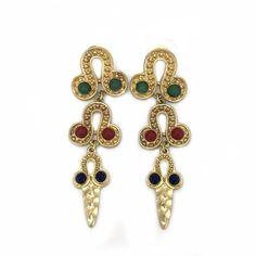 Ohrring-Ohrhaenger-Gold-Gruen-Rot-Blau-Orient-Cleopatra-Modeschmuck-Glamondo