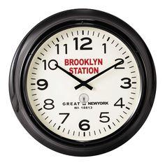 Reloj negro de metal Ø 60cm BROOKLYN STATION