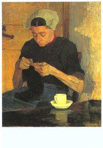 Laren, woman knitting, painting by S.C. Bosch Reitz, 1892