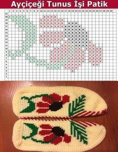Sunflower Tunisian Booties Model Making – Aysun Gökbayrak Kuplay – Join in the world of pin Crochet Boot Socks, Crochet Slippers, Knitting Socks, Tunisian Crochet Patterns, Knit Patterns, Crochet Stitches, Knitting Videos, Knitting Charts, Embroidery Transfers