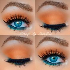 Eye Makeup with the Morphe palette. Gorgeous orange eyeshadow, blue eyeliner Augen Make-up mit der Morphe Palette. Blue Eyeshadow For Brown Eyes, Blue Eyeliner, Blue Eye Makeup, Eye Makeup Tips, Mac Makeup, Skin Makeup, Eyeshadow Makeup, Beauty Makeup, Makeup Ideas