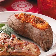 "Twice-Baked Creamy Sweet Potatoes Recipe -""Everyone loves twice-baked potatoes but they're even better made with sweet potatoes! The microwave helps turn ordinary potatoes into a dish fit for a holiday."" —Darlene Brenden, Salem, Oregon"