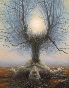"""""""Tomasz Alen Kopera was born in Kozuchow, Poland in 1976. He paints in oil on canvas, with brushes. Human nature and the mysteries of the Universe are his inspiration. Each painting motivates thought, challenging our initial response. Sometimes darkness will prevail, at other times, light. His canvases offer a glimpse into our perception of mortality as well as into the depths of Tomasz's own mind.""""  Gallery link:  http://grahamfineart.com/artists/tomasz-alen-kopera/tomasz-alen-kopera-2.html"""