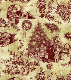 "Holiday Inspirations-Toile Santa Fabric 10.99/6.59  43"" poly"