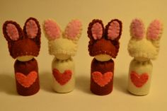 Easter bunny rabbit peg doll Australian made by WoolLoversUnite