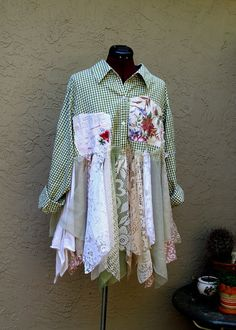 Romantic Bohemian Rustic Shirt Dress Gypsy Eco Fashion Mori girls Jacket Plus Size