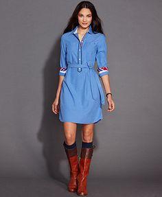 786a0cdb4b Tommy Hilfiger Long-Sleeve Belted Shirtdress & Reviews - Dresses - Women -  Macy's