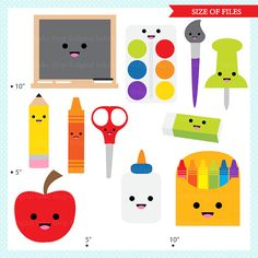 kawaii school clip art digital clipart Kawaii by DigitalBakeShop