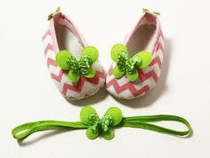 Lime Butterfly Pink & White Chevron Crib Shoes & Headband Set