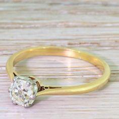 Art Deco 0.78 Carat Old Cushion Cut Diamond Engagement Ring, circa 1935