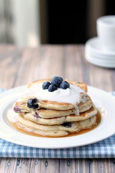 Blueberry Coconut Pancakes. These delicious pancakes use coconut milk rather than dairy milk. Don't you just want to bite into them? From This Gal Cooks @This Gal Cooks