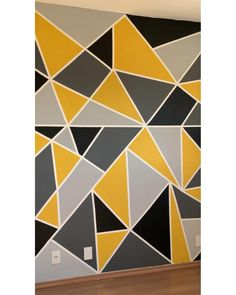 Wall Painting Living Room, Wall Painting Decor, Diy Wall Decor, Bedroom Wall Designs, Room Design Bedroom, Wall Paint Patterns, Painting Patterns, Painting Designs On Walls, Geometric Wall Paint