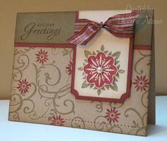handmade card ... kraft ... stamped in red and brown .... Baroque Motif ... Stampin' Up!