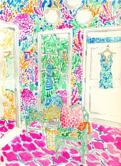 I'm a Francophile and a cosmetics junkie and I'm in love with pretty things 💗💕 Watercolor Illustration, Watercolor Paintings, Watercolors, Cool Patterns, Print Patterns, Lilly Pulitzer Prints, Lily Pulitzer, Art Forms, Cute Art