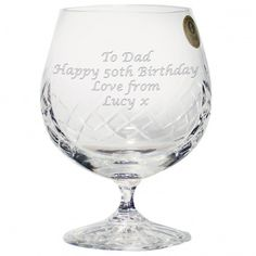 Personalised Large Crystal Brandy Glass