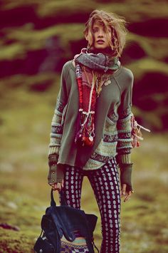 Anna Palma -  Free People Folkloric Patch Scarf with Free People Crochet And Lace Peplum