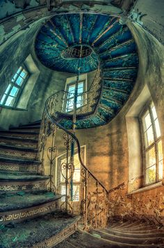 Awesome stairway in an abandoned palace in Poland!