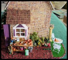 Miniature dolls house potting shed scene