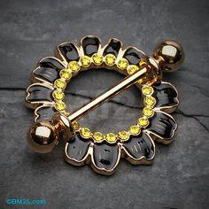 Adorable Black Daisy Nipple Shield Ring