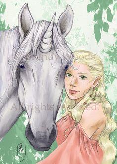 Fantasy Unicorn Fairy Elf ACEO original art print - Brandy Woods.