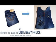 DIY Convert Old Jeans to CUTE BABY FROCK cutting and Stitching full tutorial - YouTube