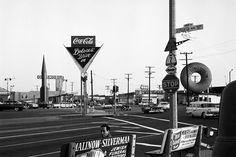 LOS ANGELES - The corner of Sepulveda and Washington boulevards. Big Donut Drive In and Dolores' Drive In, Dennis Stock / Magnum Photos Gjon Mili, Tolu, Vintage California, California Travel, Southern California, California History, Wilmington California, West Los Angeles, Los Angeles County