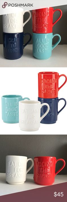 """Kate Spade """"All in Good Taste"""" Set of 4 Mugs Lenox Get this Kate Spade New York All in Good Taste 4-piece Stacking Mug Set. Stoneware in bright blue, red, white, and turquoise make up this colorful set. Each mug is carved with a saying including 'All in Good Taste', 'Eat cake for breakfast', 'out to lunch', and 'adding the sauce'.  • Crafted of stoneware • Set of four mugs • Microwave and dishwasher safe • Capacity: 12 oz. kate spade Other"""