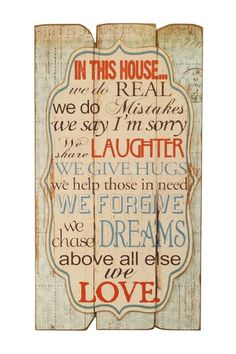 Wood wall decor with a weathered finish and typographic motif. Product: Wall decorConstruction Material: WoodColor: CreamFeatures: Weathered finish Dimensions: H x W x D Chasing Dreams, House Wall, Wall Décor, Typographic Design, Wood Wall Decor, Home Signs, Diy Signs, Messages, Sign Quotes