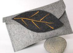 Autumn Inspired Wool Felt Clutch in Gray Merino by fuzzylogicfelt, $48.00: