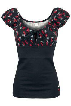 """Maglietta donna a maniche corte """"Dolly Cherries Shirt"""" di Pussy Deluxe con parte inferiore nera e parte superiore nera con ciliegie stampate e laccetto nero da annodare sul davanti."""