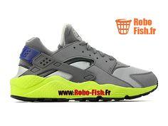 Nike Air Huarache GS - Chaussure Nike Sportswear Pas Cher Pour Femme Enfant  Gris loup Volt Harmonie foncée Bleu-gris 318429-004G c56774ef98e